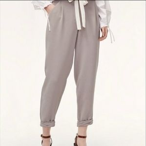 Wilfred tapered pants gray cropped slouchy career